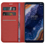 Leather Wallet Case & Card Holder Pouch for Nokia 9 PureView - Red